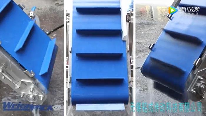 蓝色PVC环形挡板输送带案例视频